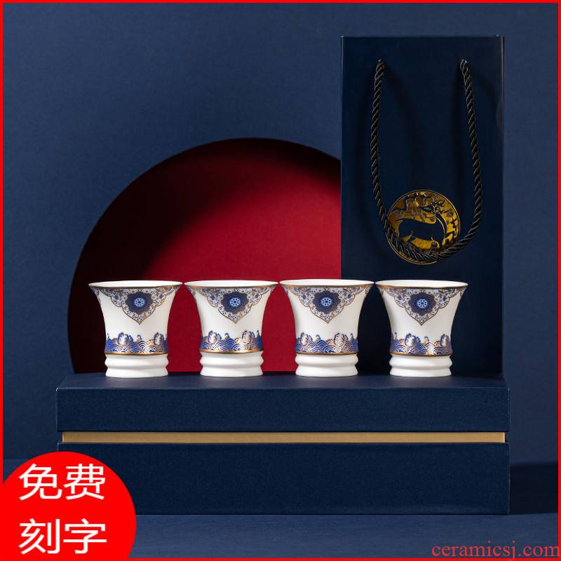 Small ceramic suet jade white porcelain of jingdezhen blue and white porcelain cup kung fu tea tea sample tea cup, master cup single CPU