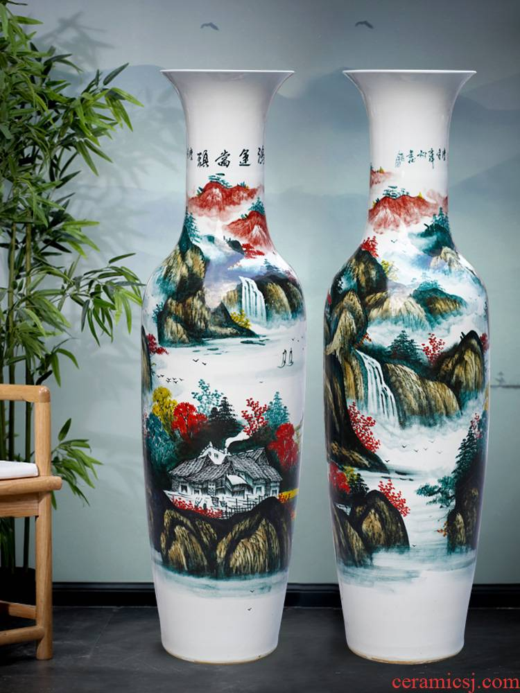 Jingdezhen ceramics much luck hand - made a landscape painting of large vase household living room TV cabinet furnishing articles