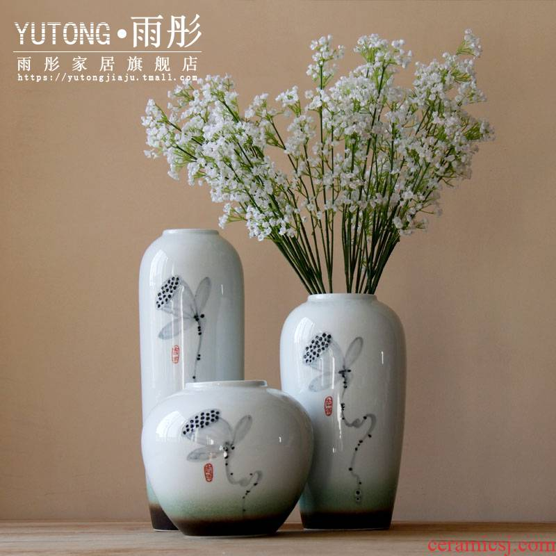 Chinese modern ceramic vases, flower implement with flowers bright glaze ink lotus sitting room desktop flower the household decoration