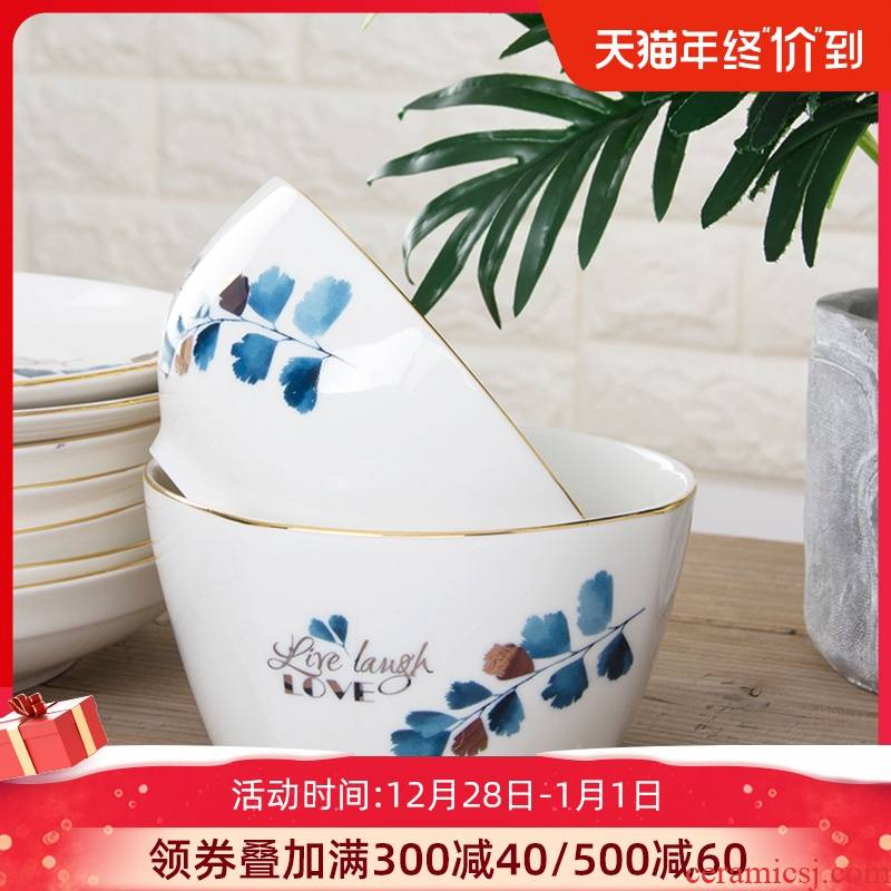 Creative household ceramic bowl noodles soup bowl prevent hot large rice bowls of jingdezhen tableware Nordic contracted to eat bread and butter