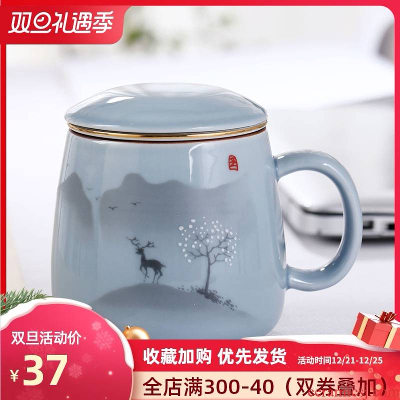 Glass ceramic cups with cover household filter Glass office creative mark cup of jingdezhen ceramic tea cup