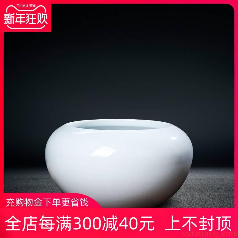 Jingdezhen ceramics vase white mesa of dry flower flower arranging device of modern home furnishing articles continental shallow water storage tank