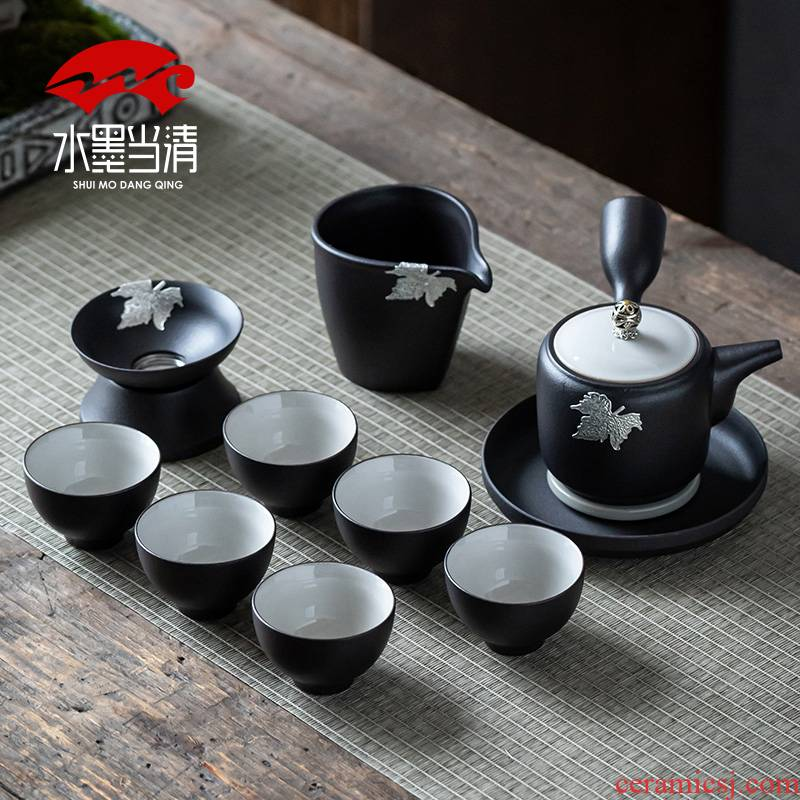 Coarse pottery Japanese side put the pot of kung fu tea set suits for domestic high - end retro manual unglazed contracted zen tea cup
