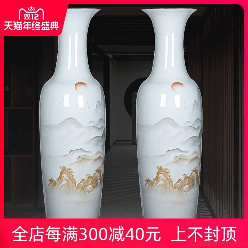 Jingdezhen ceramics hand - made sunrise freehand brushwork in traditional Chinese landscape big vase landed sitting room adornment modern furnishing articles