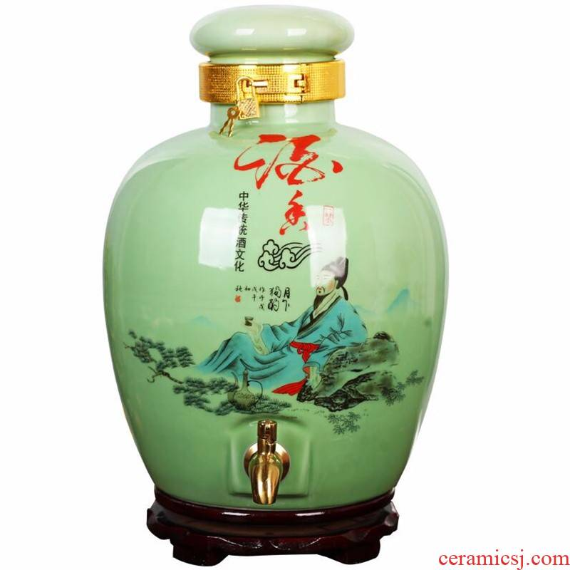 Jingdezhen ceramic jars it 5 jins of 10 jins 20 jins shadow green archaize mercifully tank bottle wine bottle sealed jar