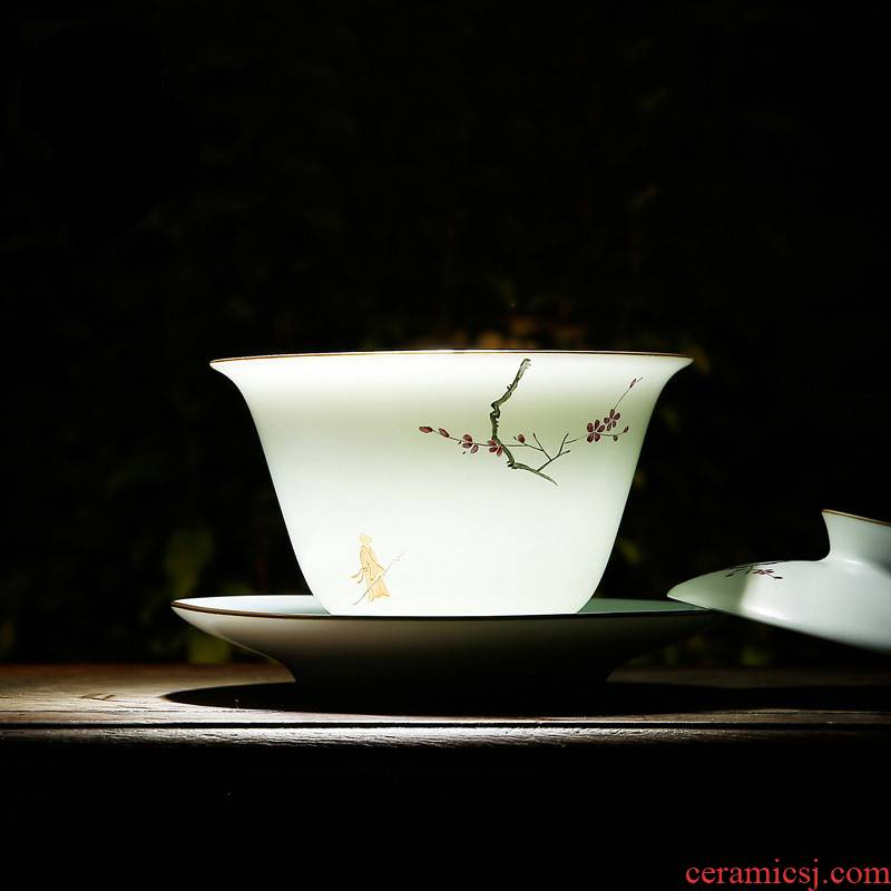 The Poly real boutique scene tureen tea ware jingdezhen ceramic cups hand - made pastel celadon matte enrolled white three cups