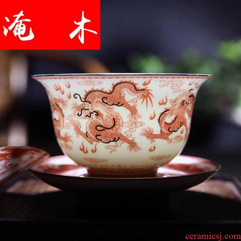 Submerged wood archaize of jingdezhen ceramic checking red powder enamel paint alum hand - made dragon three tureen kung fu tea worship