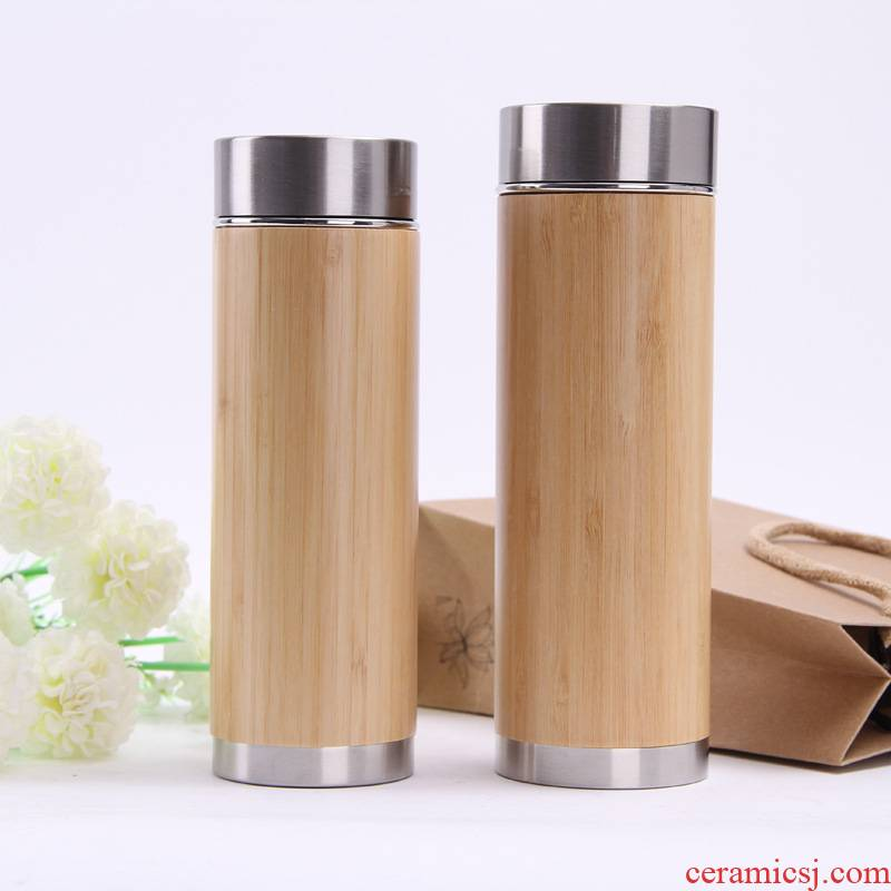 Wholesale department creative bamboo shell stainless steel vacuum cup is suing portable purple sand cup of advertising gifts glass can be customized