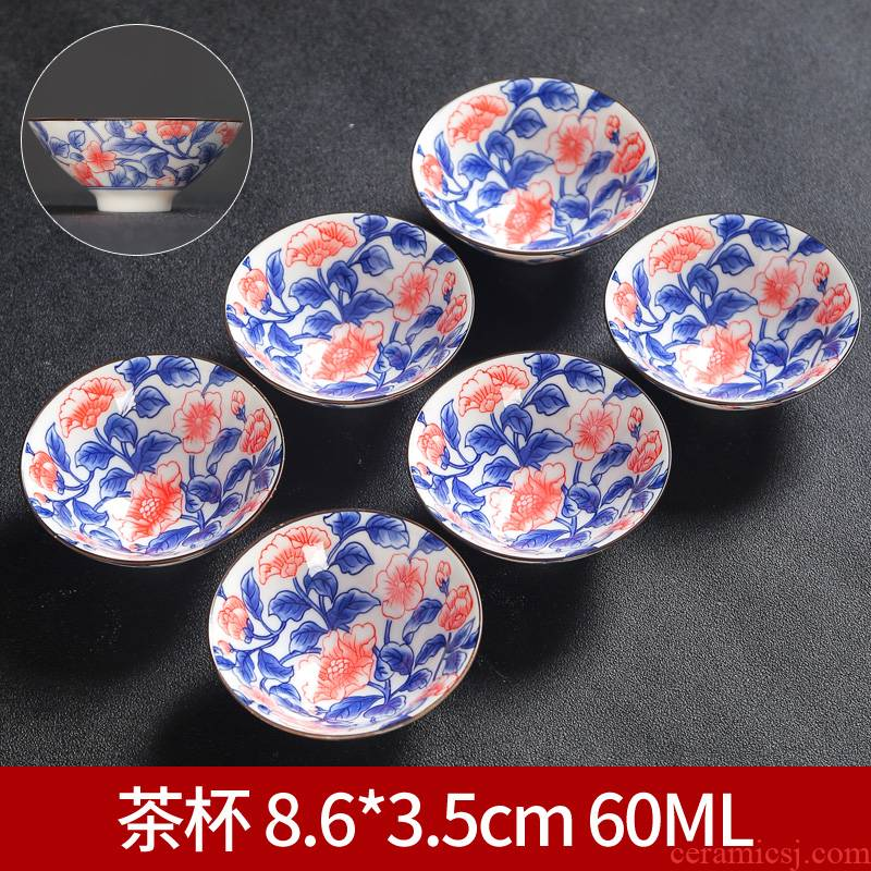 Celadon kung fu tea cup single glass ceramic cups and the owner of the blue and white porcelain cup only a single small sample tea cup