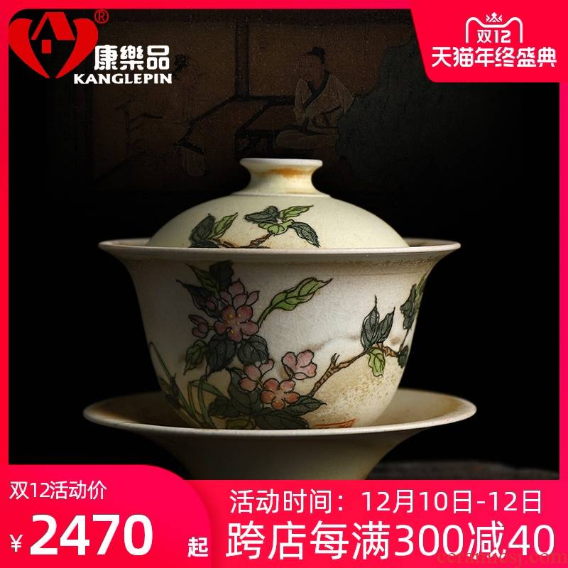 Firewood recreational product water pure manual painting name plum blossoms tureen can keep on a single ceramic tea cups