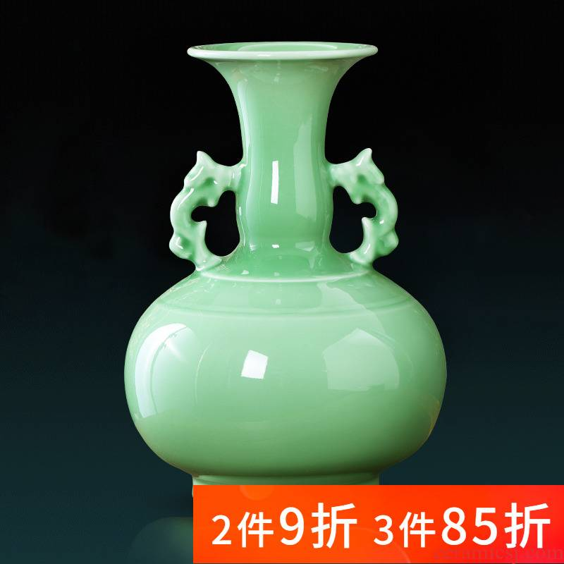 Jingdezhen ceramics celadon ears vase creative I and contracted sitting room TV ark adornment furnishing articles arranging flowers