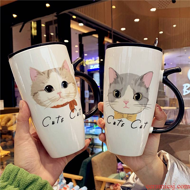 Creative express cartoon cup men 's and' s office ceramic mugs couples move milk spoon coffee cup with cover