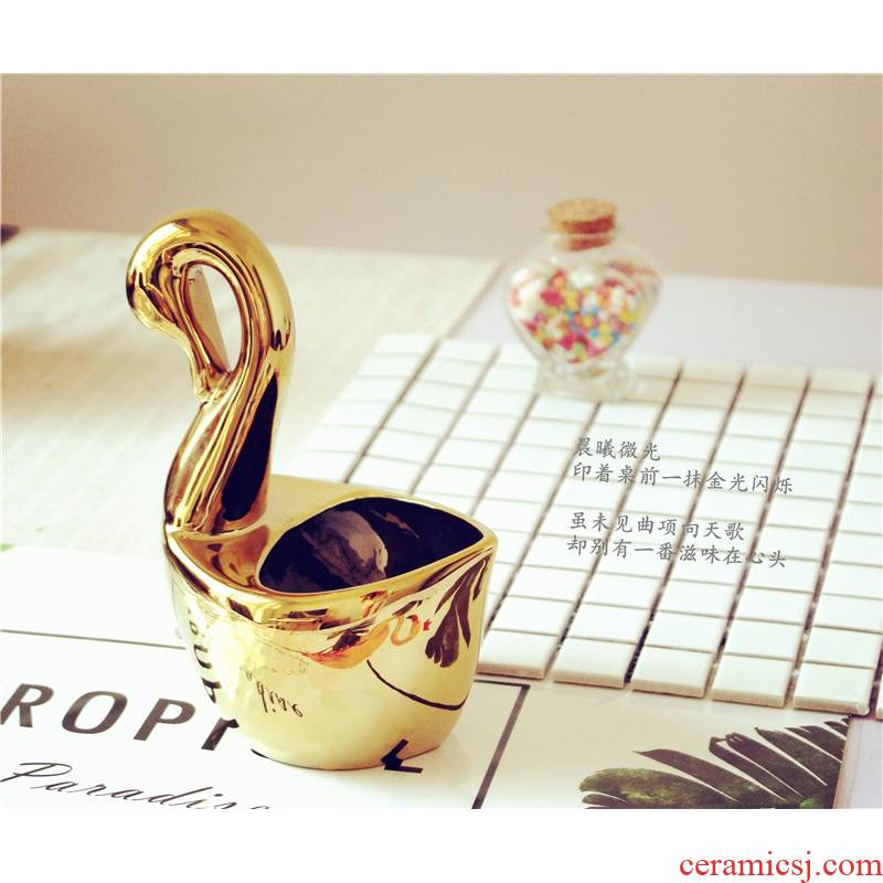 Jingdezhen ceramic household swan basket frame creative ipads porcelain spoon, chopsticks tableware placed spoon shelf basin of the vase