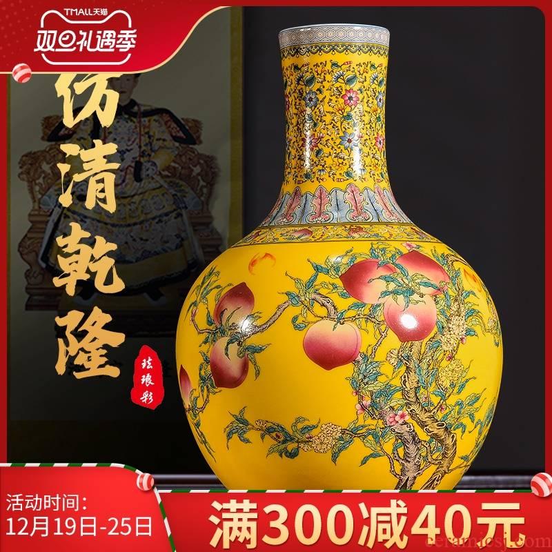 Jingdezhen ceramics, vases, flower arrangement sitting room yellow enamel color TV ark, rich ancient frame desktop ornaments furnishing articles