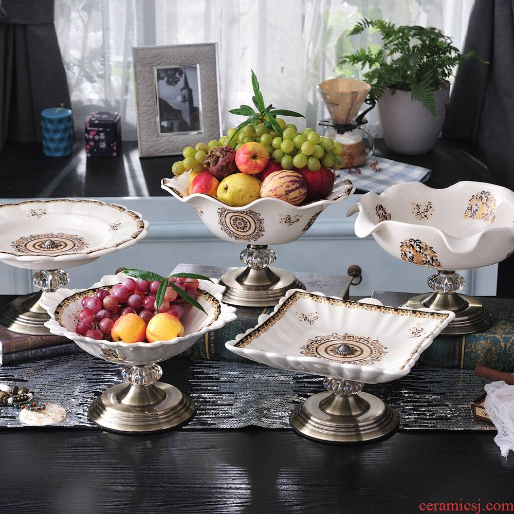 Fruit stand European ceramic Fruit bowl KTV room table place decoration key-2 luxury honourable compote