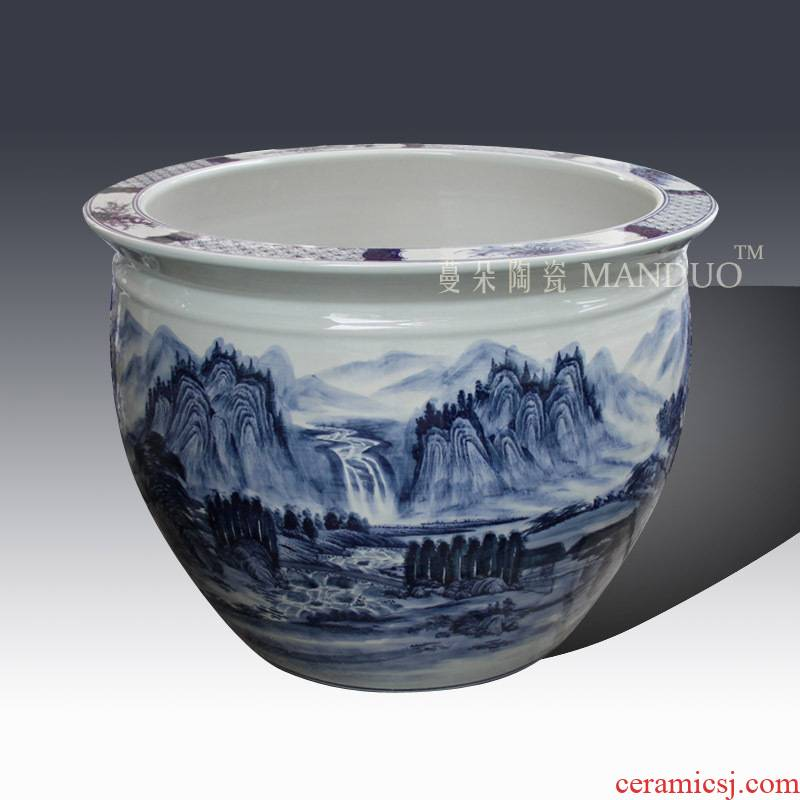 Jingdezhen blue and white oversized hand - made ceramic porcelain VAT high - grade fish keep lotus lotus garden vats