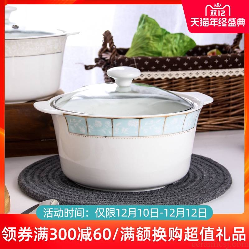 Jingdezhen ceramic soup pot with cover household rice basin ipads China circular microwave fire pot contracted large soup bowl