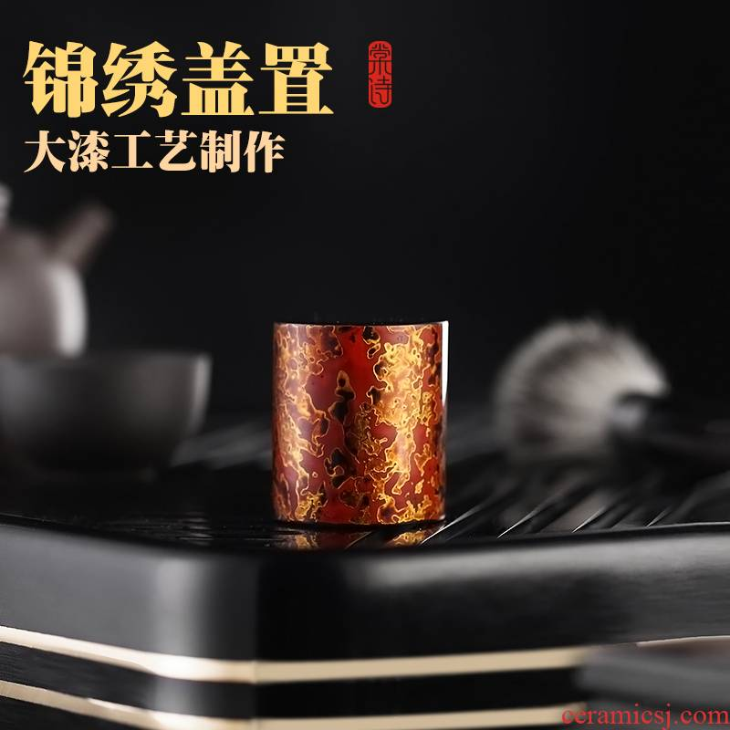 Shadow at iron lid buy real wood lid support manual Chinese lacquer cover set it cover support tea accessories furnishing articles S