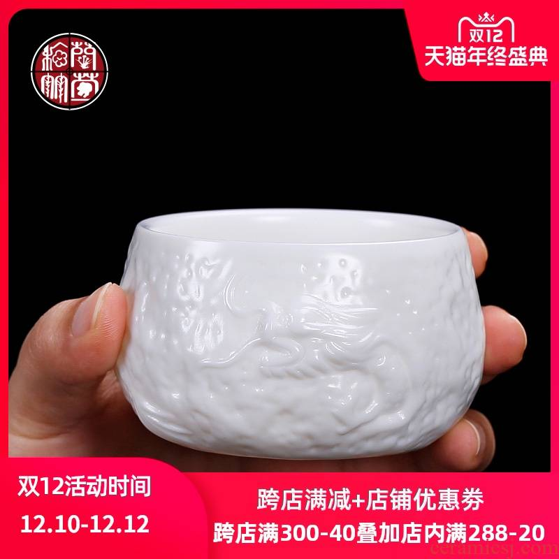 De - gen Chen checking out hidden dragon cup of dehua white porcelain masters cup single cup large suet jade small single ceramic cups