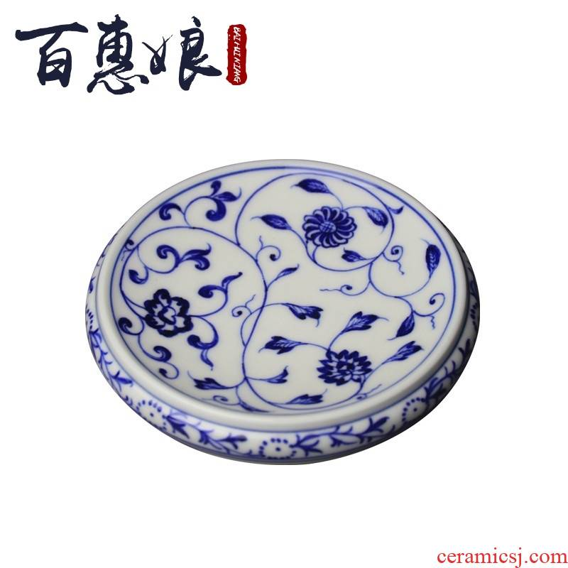 (niang hand made blue and white tie up branch lotus lines cover rear cover hold ceramic pot bearing pad pot doesn jingdezhen tea kungfu tea