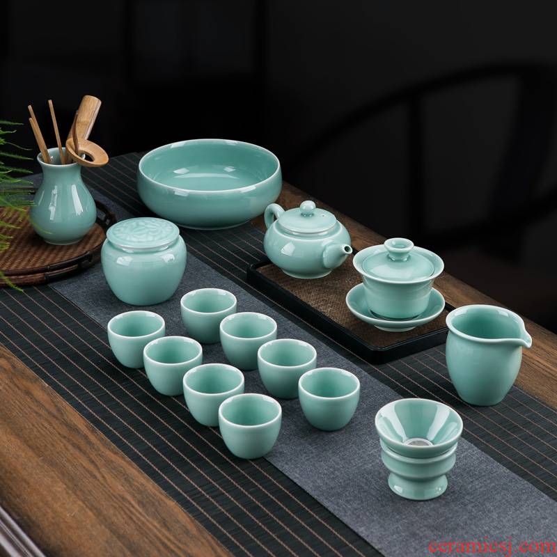 Jingdezhen color glaze celadon ceramic kunfu tea tureen tea set suit household contracted sitting room of a complete set of tea