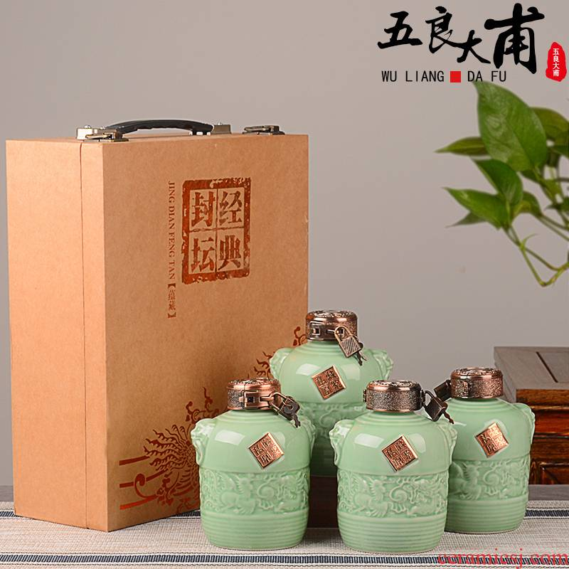 Jingdezhen ceramic terms jars 1 kg pack with gift box wine bottles household of Chinese style creative wine jugs