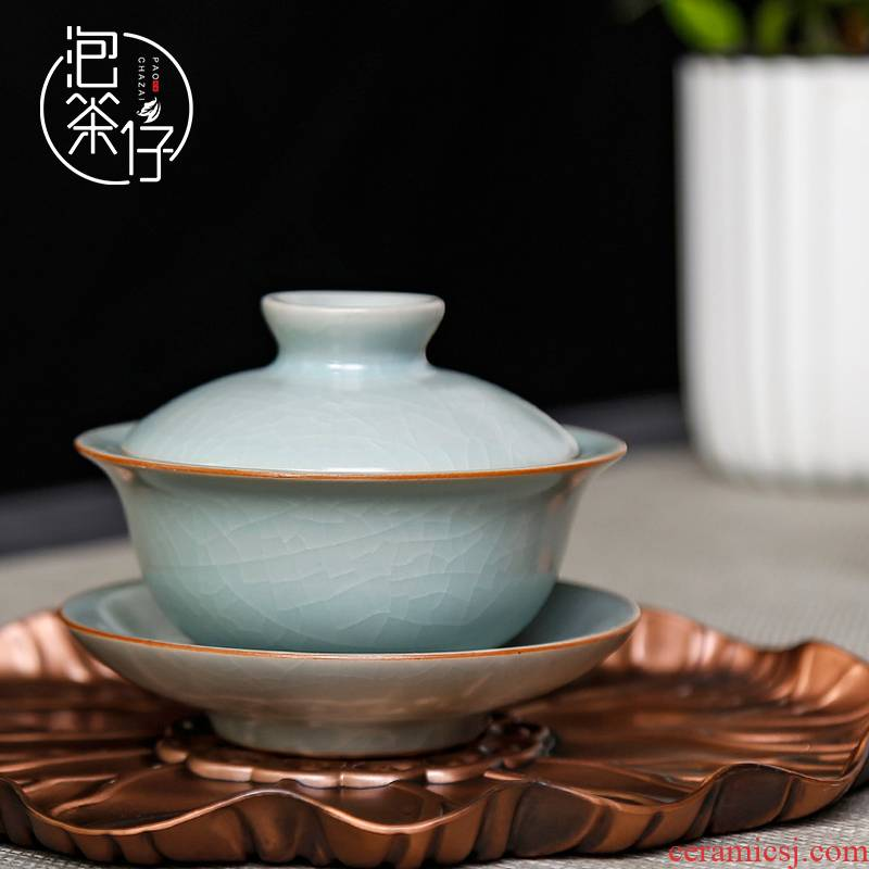 Your up kung fu tea tea tureen tea bowl three cups to large open the slice of single thickening ice crack glaze