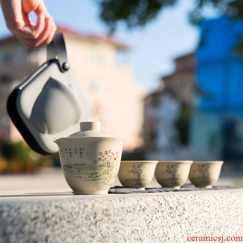 To crack a pot of three portable travel package was suit jingdezhen ceramic tea separation with the teapot