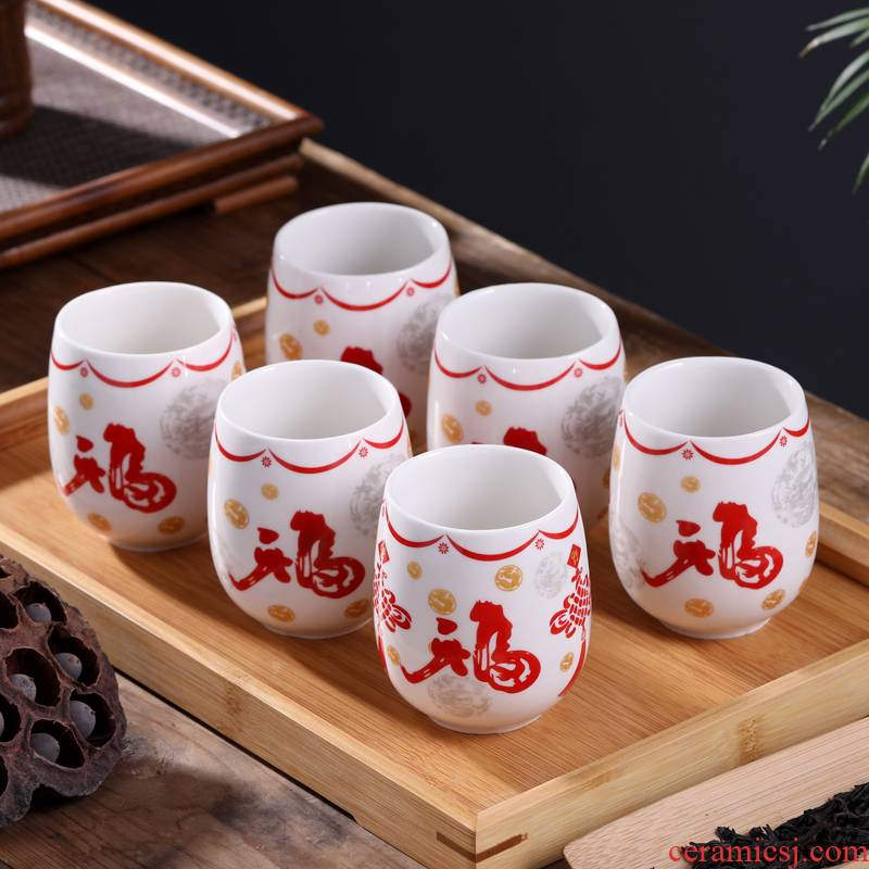 Jingdezhen ceramic cups tea six pack tea tray was home to use individual single CPU contracted Japanese tea cups