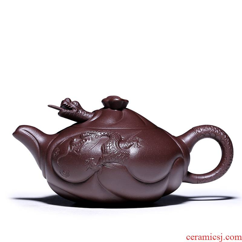 Shadow at yixing are it by pure manual collection class tea flower implement purple clay teapot GYT dragon fish