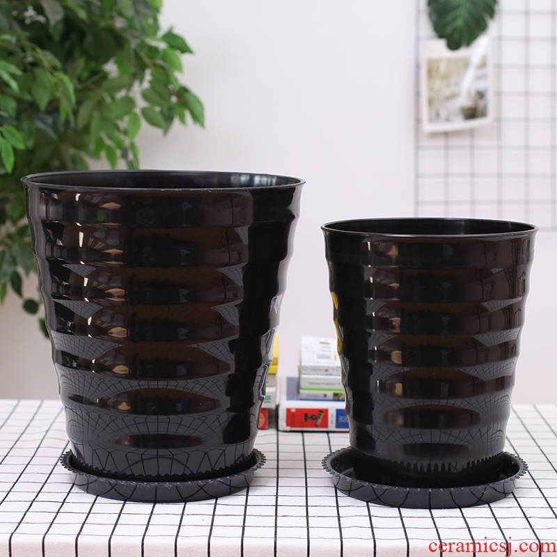 Extra large money plant pot large green plant POTS round plastic imitation ceramic resin basin interior balcony flowerpot fruit trees