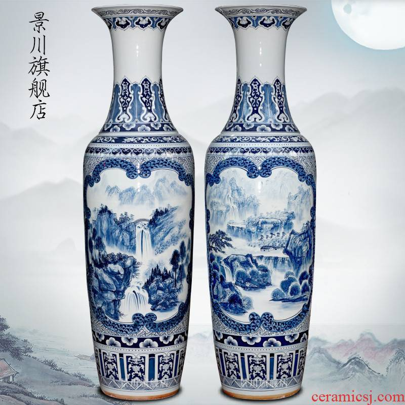 Jingdezhen porcelain ceramics hand - made landscape painting home sitting room of large vases, hotel shop furnishing articles act the role ofing is tasted