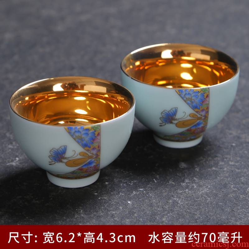 Ceramic cups kung fu noggin suit household use sample tea cup tea purple hat to master cup celadon