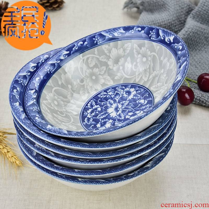 Japanese household pull rainbow such use large soup bowl eat bowl mercifully rainbow such use ceramic tableware at upstream of blue and white porcelain bowl