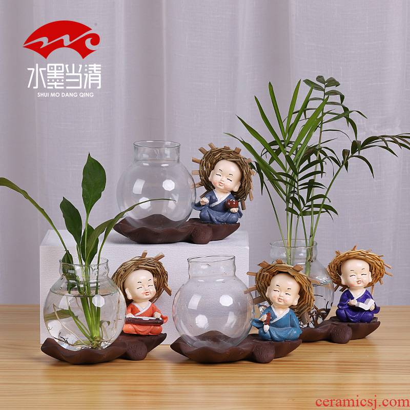 Flower implement glass ceramic vase contracted creative furnishing articles zen tea Japanese Flower arrangement is an art that mattress in the sitting room adornment