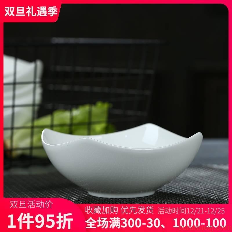 Pure white ipads jingdezhen ceramic tableware bowls creative Korean salad bowl bowl of white household Japanese soup bowl rainbow such use