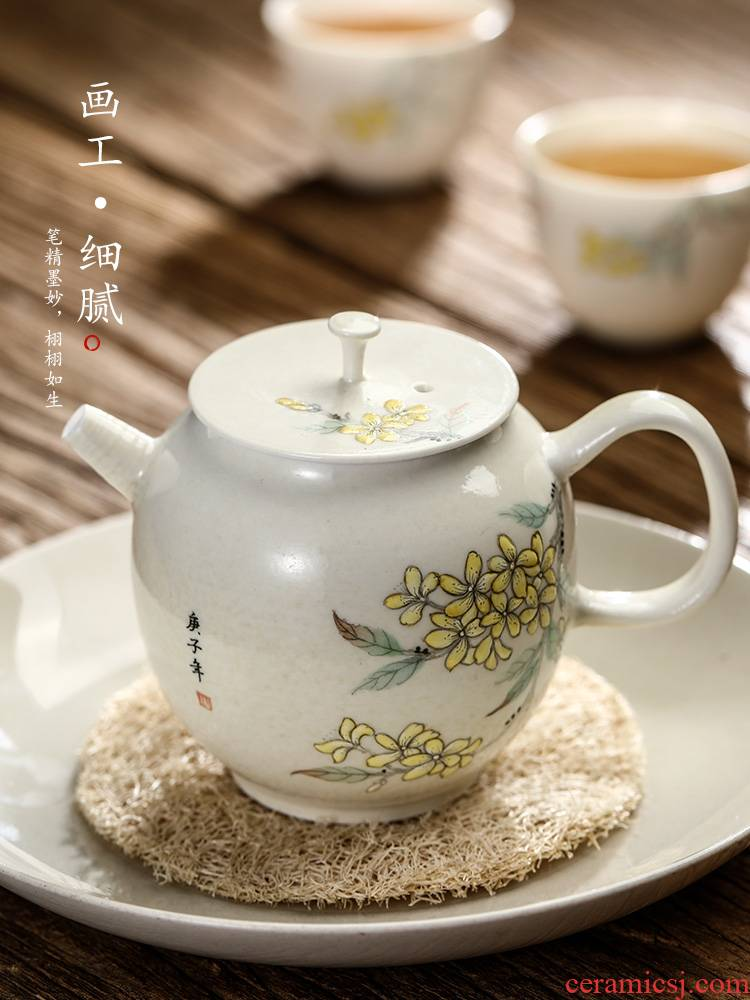 Pure manual Chinese teapot jingdezhen kunfu tea tea tea pot of small size single pot ball hole, hand - made ceramic pot female