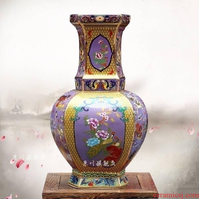 Archaize of jingdezhen ceramic famille rose colored enamel vase household living room floor furnishing articles flower arrangement craft jewelry