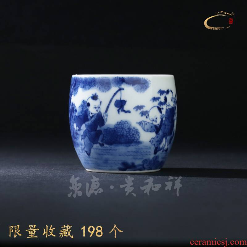 Jingdezhen blue and white merrily merrily and cheung kung fu tea cups cup pure manual master cup single CPU hand - made sample tea cup