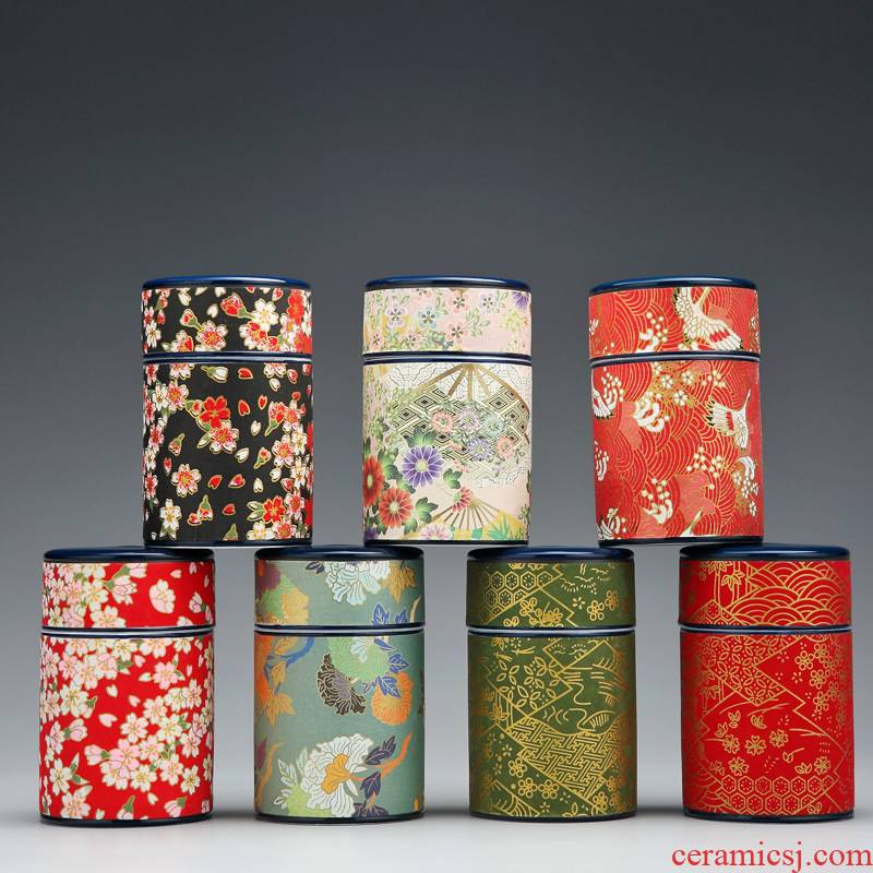 Red the jingdezhen ceramic POTS caddy fixings storage tanks, small portable wind restoring ancient ways is the tea box sealed jar