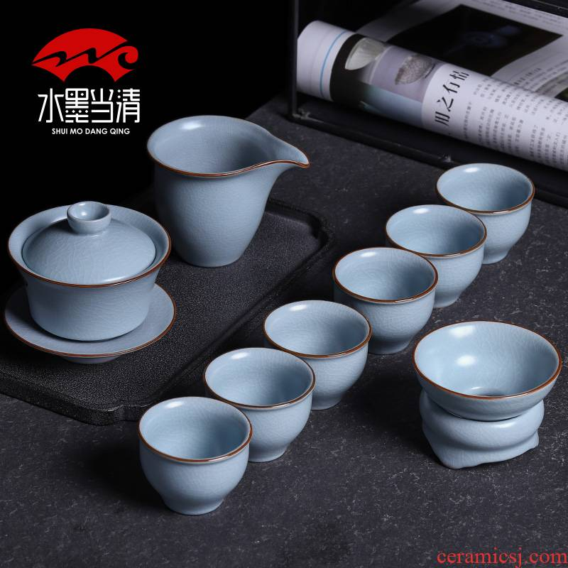 Kung fu tea set suits for your up slicing can raise the ice crack household jingdezhen ceramic tureen office tea cups