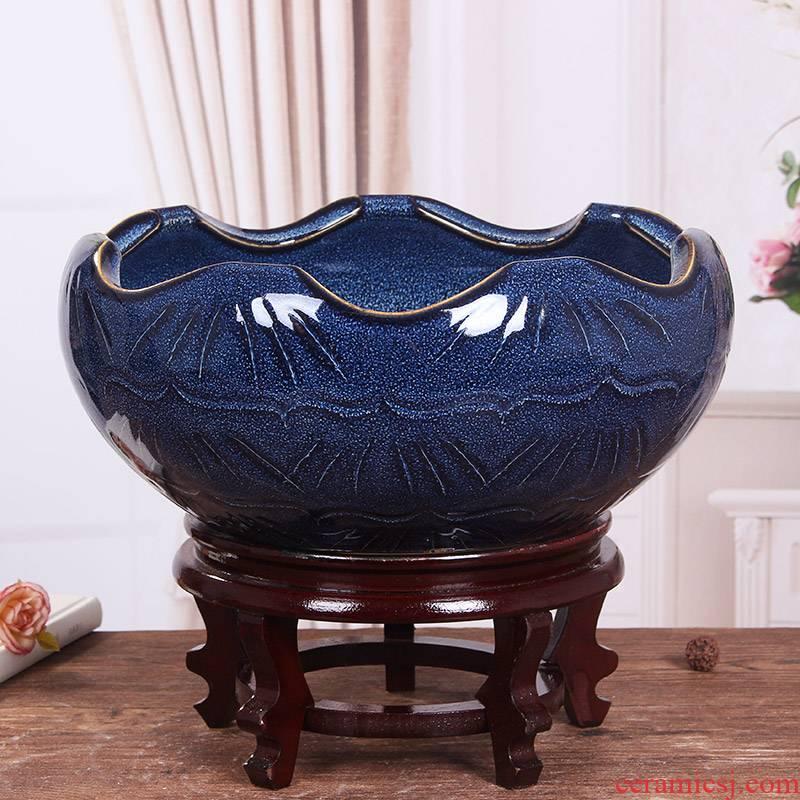 Jingdezhen ceramic aquarium pet gold fish tank water lily basin bowl lotus lotus cylinder cylinder tortoise GangPen furnishing articles package mail sitting room