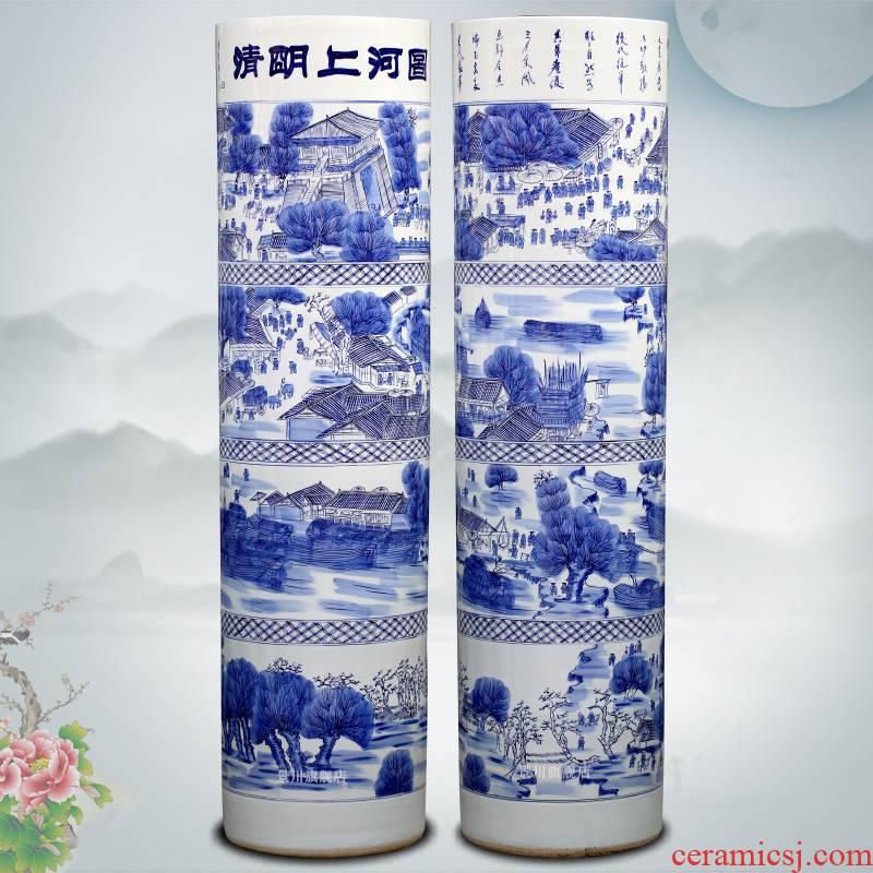 Blue and white porcelain painting qingming scroll landing big quiver of jingdezhen ceramics vase sitting room hotel furnishing articles