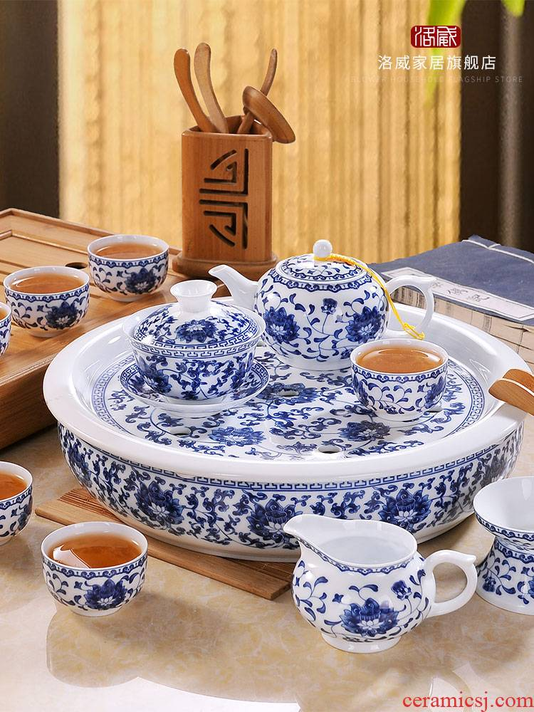 Kung fu tea set high - grade household of Chinese style restoring ancient ways of blue and white porcelain of jingdezhen ceramic cups teapot tea tray package