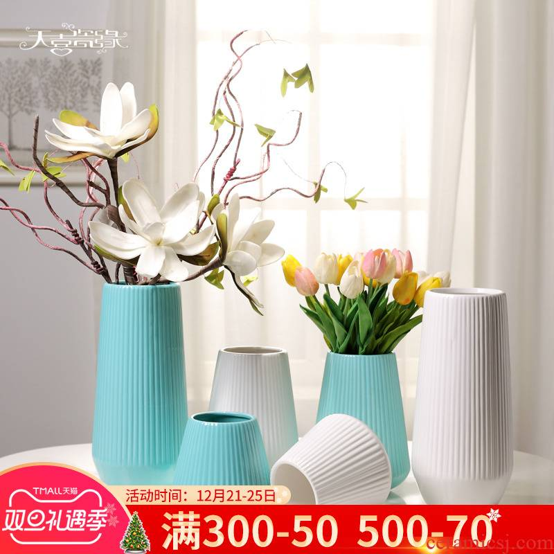 Contracted and I ceramic of dry flower arranging White House living room TV cabinet furnishing articles hydroponic vase soft decoration