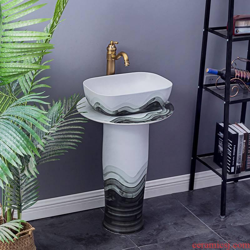 Household lavabo floor pillar basin courtyard balcony toilet stage basin integrated basin ceramic sinks. 5