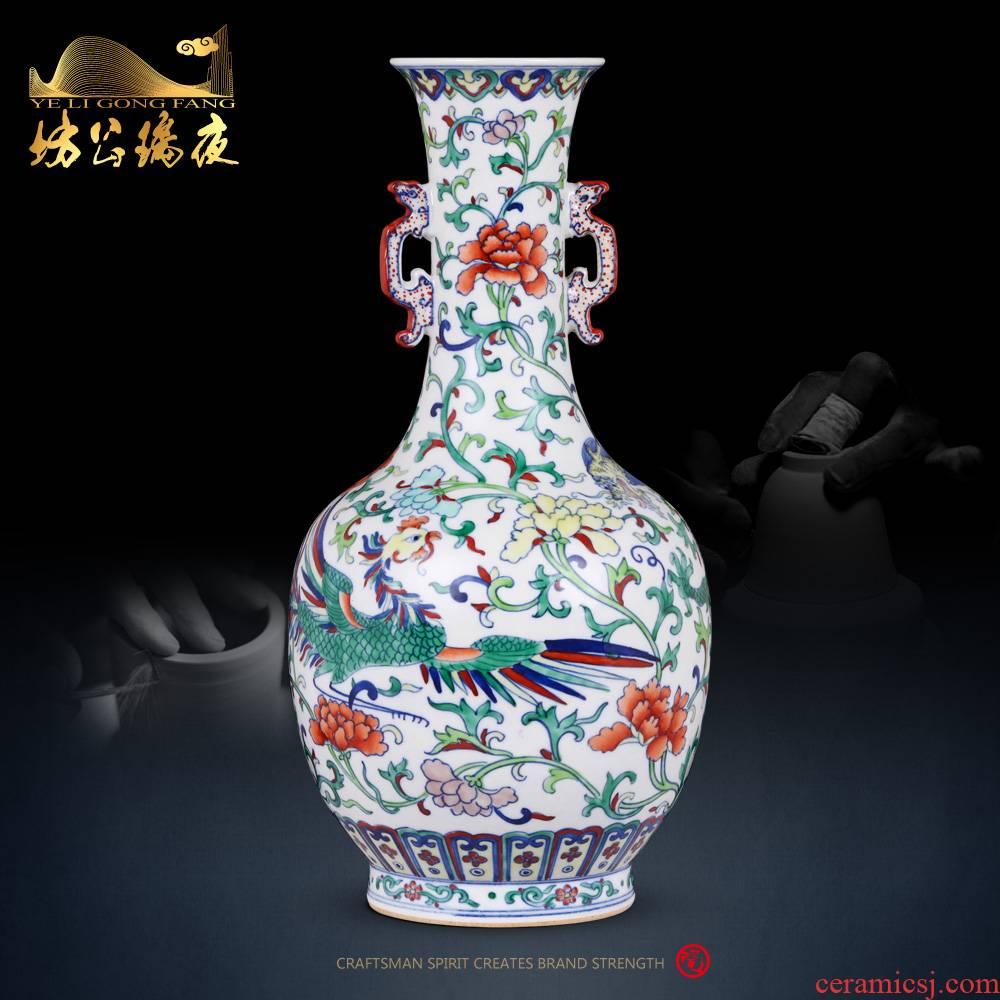 Jingdezhen ceramics vase imitation the qing qianlong blue - and - white longfeng grain ears bottle of Chinese style household adornment furnishing articles
