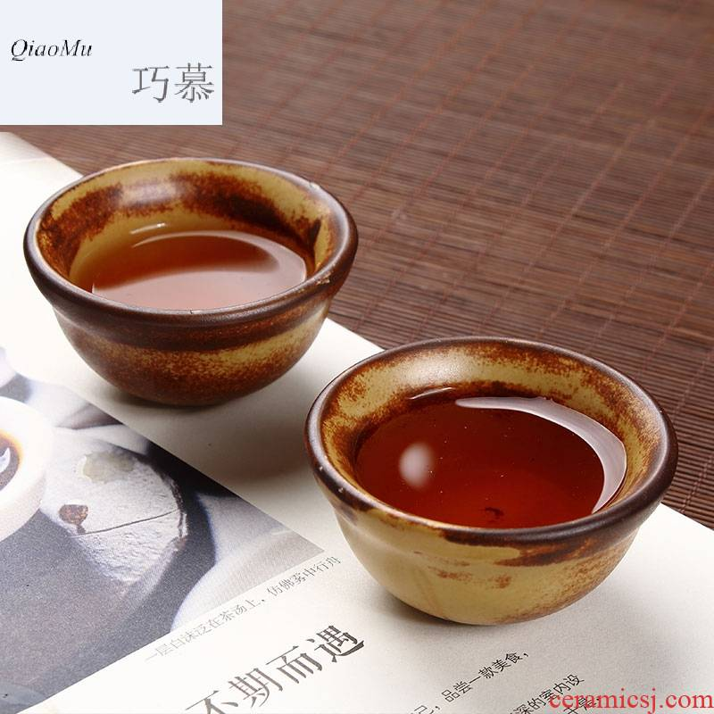 Qiao mu ceramic cups coarse pottery hat to 6 household automatic tea cup violet arenaceous kung fu tea cups contracted sample tea cup