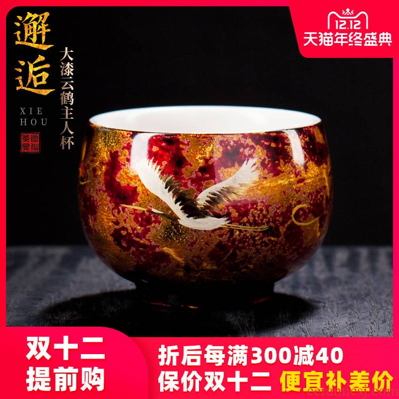 Artisan fairy ling - ling xu master Chinese lacquer cup tea master cup single CPU ceramic household pure manual, kung fu tea cups