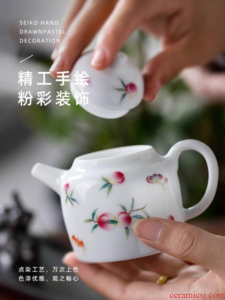 Prunus persica full tree house DengHu pure manual painting kung fu tea pot teapot jingdezhen small household ceramic tea set
